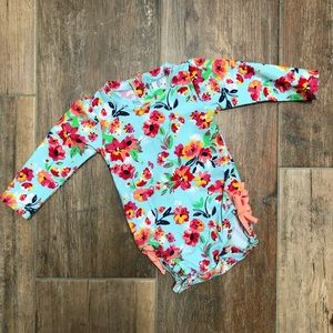 Painted Flowers Ruffle butts swimsuit